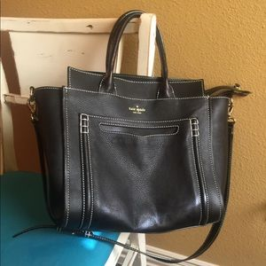 Black Kate Spade tote with long strap